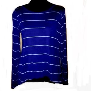 navy and white stripe knit pullover top